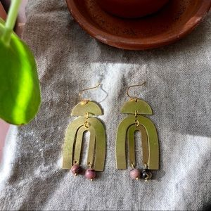 Handmade Raw Brass and Howlite Geometric Earrings